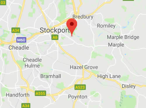 map of stockport areas we cover
